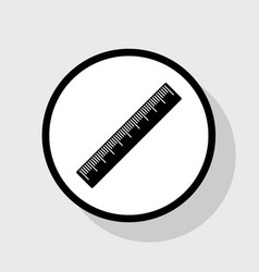 Centimeter ruler sign flat black icon in vector