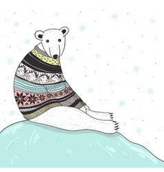 Christmas card with cute polar bear vector