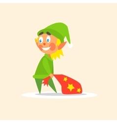 Christmas elf carrying present bag vector