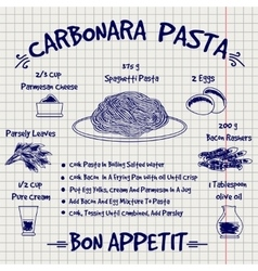 Cookbook design recipe carbonara pasta sketch vector