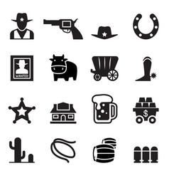 cowboy icons vector image