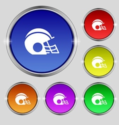 football helmet icon sign Round symbol on bright vector image vector image