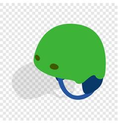 Green ski helmet isometric icon vector