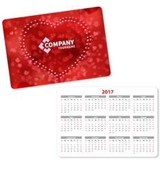 horizontal pocket calendar vector image vector image