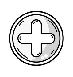 Line cross medicine symbol to help the people vector