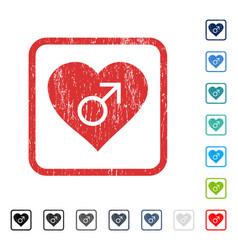 Male love heart icon rubber watermark vector