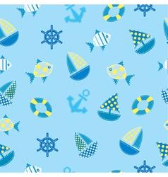 Marine kid seamless pattern vector