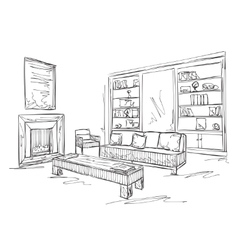 Modern interior room sketch Sofa and furniture vector image vector image