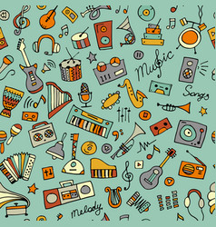 Music instruments sketch seamless pattern for vector