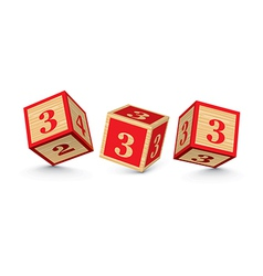 Number 3 wooden alphabet blocks vector