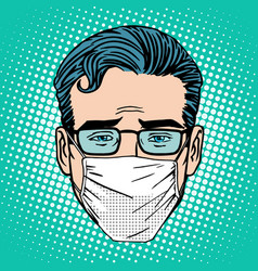 Retro Emoji sore virus infection medical mask face vector image vector image