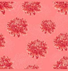 Seamless pattern with bright red chrysanthemums vector