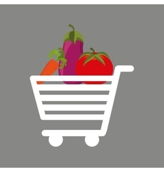 Shopping cart fresh vegetales food vector