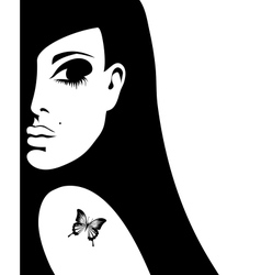 silhouette of a woman with a tattoo of a butterfly vector image