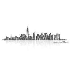 sketch of manhattan new york vector image vector image