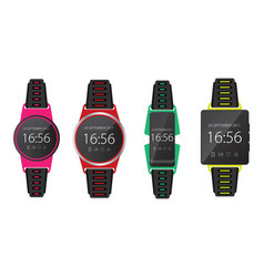 smartwatch wearable technology flat icon set eps10 vector image