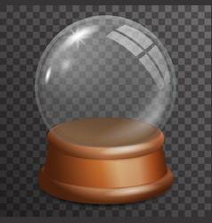 Snow glass ball highlight wooden stand 3d vector