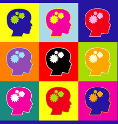 Thinking head sign pop-art style colorful vector