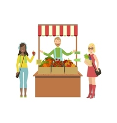 Vegetable Stand Of Farm Fresh Products With Seller vector image