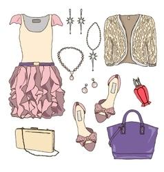 Woman wardrobe clothes accessories set vector image