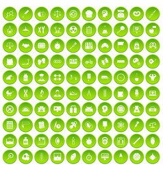 100 libra icons set green circle vector