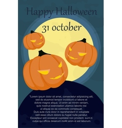 halloween card with pumpkins vector image