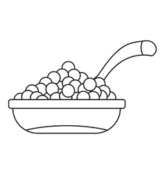 Bowl of caviar icon outline style vector