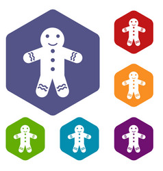 gingerbread man icons set vector image