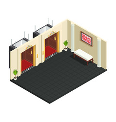 lift lobby isometric interior vector image