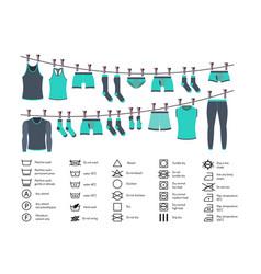 icons set washing clothes vector image