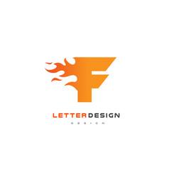 f letter flame logo design fire logo lettering vector image