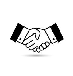 Black bargain handshake icon vector