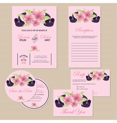 Wedding invitation set with ribbon vector