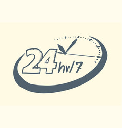 24 hours 7 day clock drawn style vector