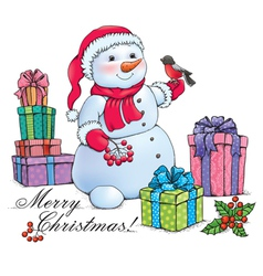 Snowman with Christmas vector image