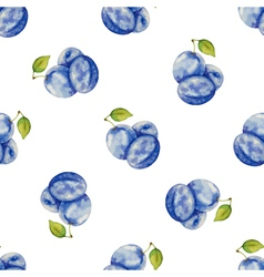 Watercolor pattern of fruit plum vector