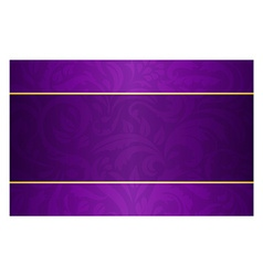 Purple card with vintage pattern and golden label vector