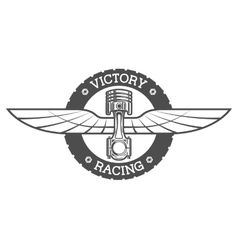 Auto emblem piston and wings vector
