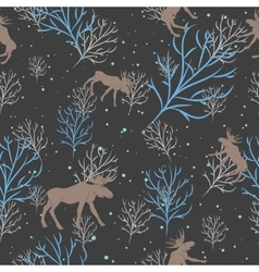 Forest deer and snow tree seamless pattern vector