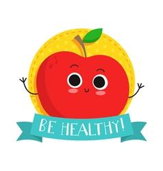 Apple cute fruit character bagde vector
