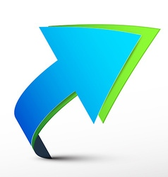 Blue and green 3d arrows - logo design isolated on vector