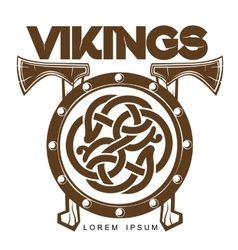 Viking battle shield with axes vector