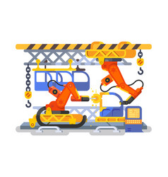 automatic production in factory using robots vector image