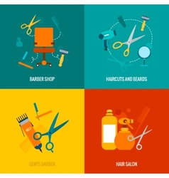 Barber shop flat icons composition vector