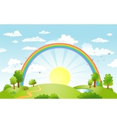 beautiful landscape with rainbow vector image vector image