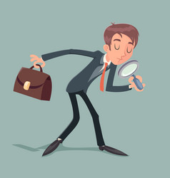 businessman character with magnifying glass and vector image