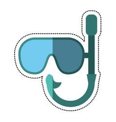 cartoon mask snorkel vacation recreation vector image