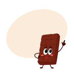 Chocolate bar character with funny face speaking vector