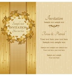 Christmas invitation gold and beige vector