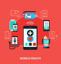 Digital health gadgets flat poster vector
